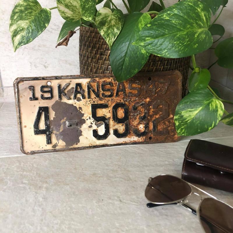 Plaque Licence USA - VINTAGE - Kansas 1947