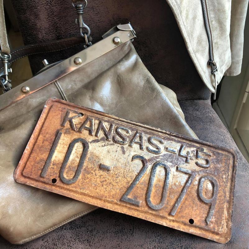 PLAQUE AUTO ORIGINALE USA - Kansas - 1945