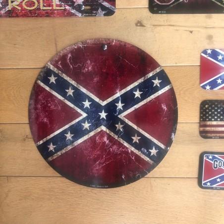 Plaque metal ronde drapeau Confederate - Made in Usa