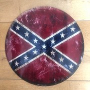 Plaque metal ronde drapeau Confederate - Made in Usa