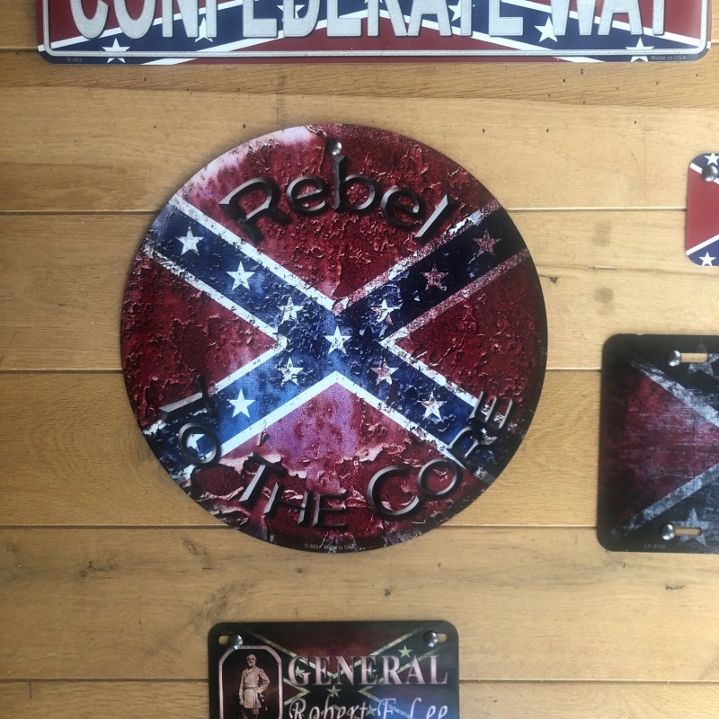 Plaque metal Confederate Rebel to the core - Made in USA
