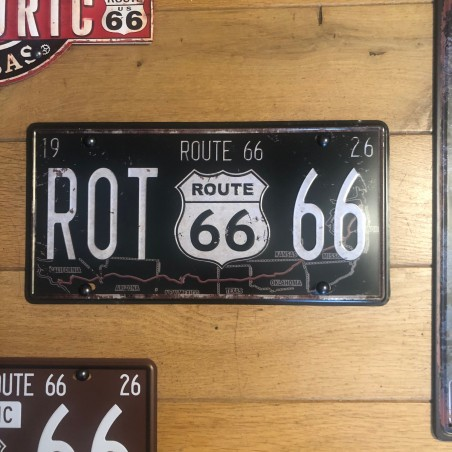 PLAQUE METAL ROUTE 66 TRACE MOTHER ROAD