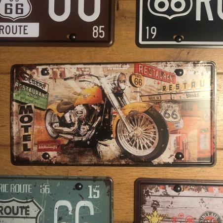 PLAQUE METAL DECO MOTO MOTEL ROUTE 66