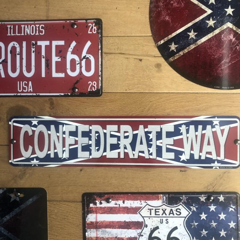 PLAQUE METAL CONFEDERATE WAY - Made in USA