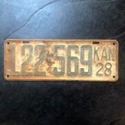 PLAQUE AUTO ANCIENNE USA - Kansas - 1928