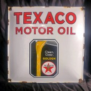 TEXACO MOTOR OIL - PLAQUE EMAILLEE CARREE - VINTAGE