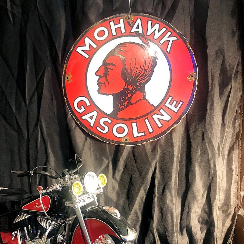 MOHAWK GASOLINE - PLAQUE EMAILLEE RONDE - VINTAGE