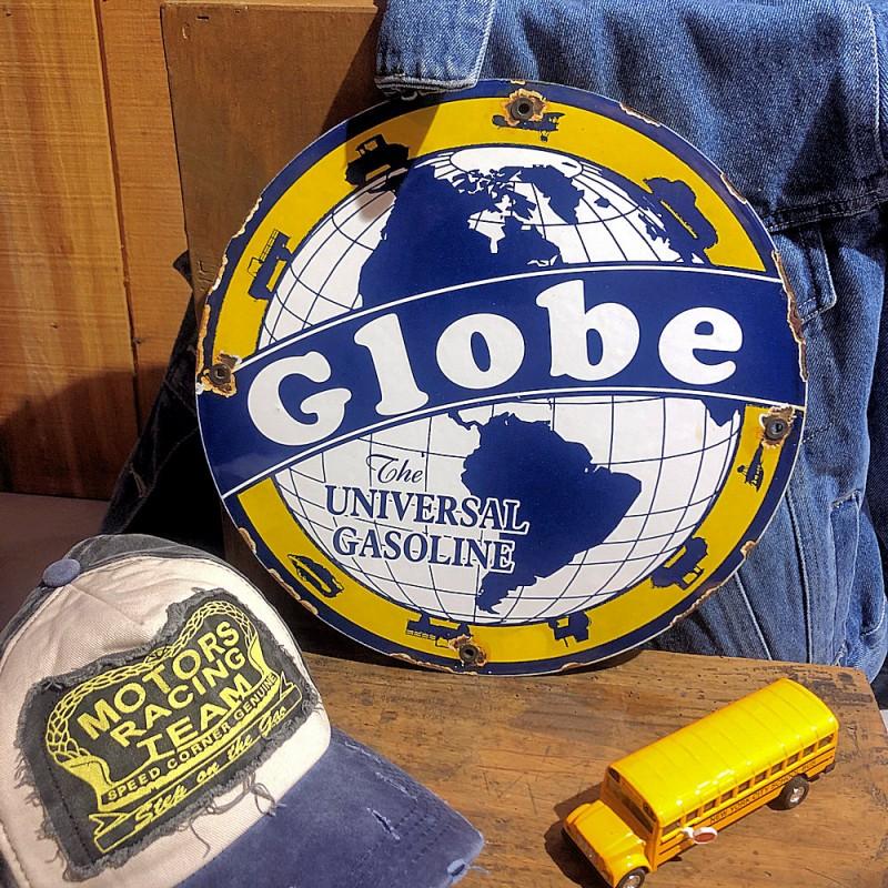 GLOBE GASOLINE - PLAQUE EMAILLEE RONDE - VINTAGE