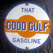 GULF GASOLINE - PLAQUE EMAILLEE RONDE - VINTAGE