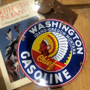 WASHINGON GASOLINE - PLAQUE EMAILLEE RONDE - VINTAGE