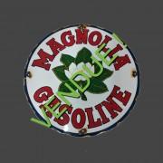 MAGNOLIA GASOLINE - PLAQUE EMAILLEE RONDE - VINTAGE