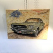 RIDER : TABLEAU TOILE - MICHEL PERRIER - FORD MUSTANG