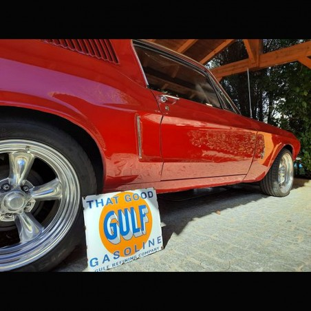 GULF - PLAQUE EMAILLEE RECTANGULAIRE - VINTAGE