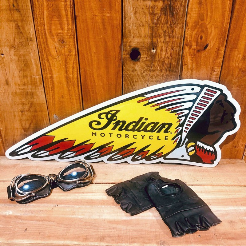 Chef Indien Emaillé - Indian Motorcycle Enamel Chief sign