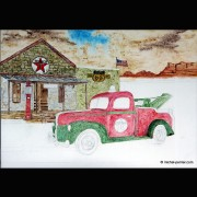 RIDER - TABLEAU TOILE - MICHEL PERRIER - TOY TRUCK TEXACO