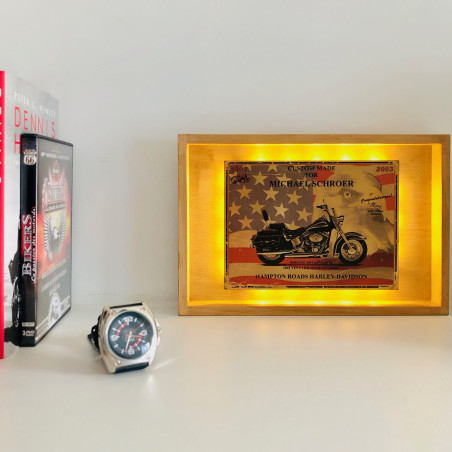 HERITAGE SOFTAIL HARLEY DAVIDSON : LAMPE D'AMBIANCE PLAQUE COLLECTOR