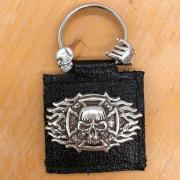 Porte Clé Cuir - Malt Skull Flammed Cross