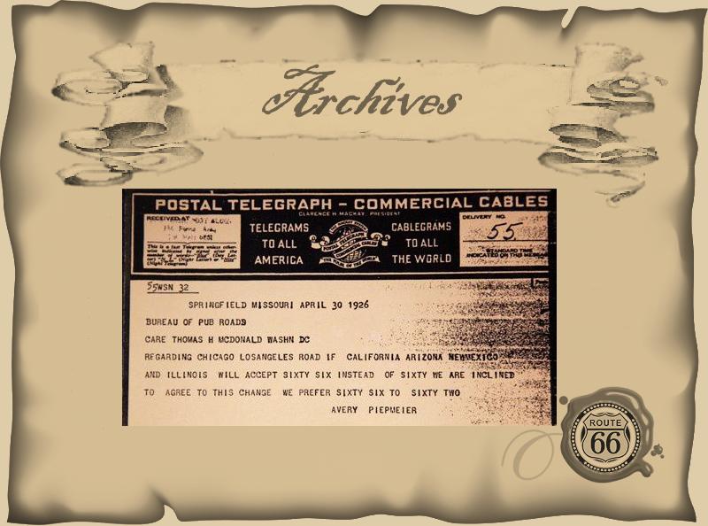 """Copie du télégramme original confirmant que le nom de Route 66 était retenu pour """"The Mother Road"""" !"""